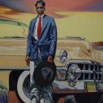 Walt Wooten (Choctaw, African American, Irish and French), Rich Indian with his Cadillac, oil on canvas, 46 x 64 inches.