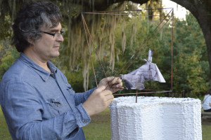 Michael Rees with experimental sculpture
