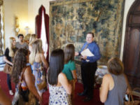 FSU interior design students tour Ca' D'Zan with the mansion's curator, Ron McCarty. Associate Professor Karen Myers brings a group of students from Tallahassee to Sarasota each summer to visit the John and Mable Ringling mansion and learn more about the business of interior design for high-end homes. Staff photo / Harold Bubil