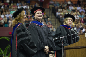Smiles all around. From left: FSU Interim President Garnett S. Stokes, Mark A. Riley and interim provost Dr. Sally McRorie (Former Chair and Dean of the Art Education Department).
