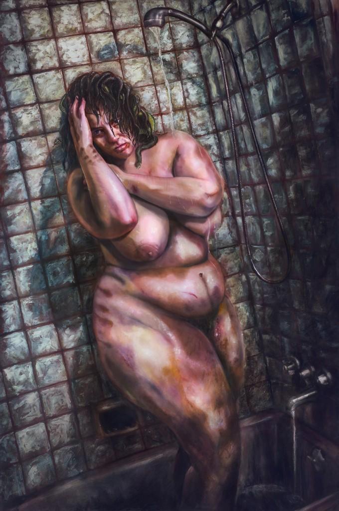 "MANDEM's award-winning painting, ""Medusa, Her Word Against His."""