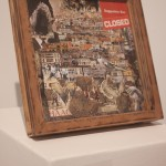 """""""The space between point A and B"""" by Lourdes Jimenez. Found images, wooden frame, glass."""