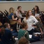 Small group of students conversing
