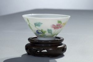 Ming Dynasty, Chenghua period (1465-1487) porcelain cup from the Cressman Collection, 1 1/8 inches tall, base diameter 3/4 inch, mouth diameter 2 inches. Florida State University Museum of Fine Arts.