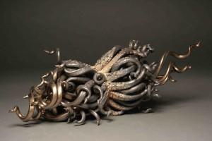 Mark Walnock, Divided Roots, 2014, ceramic, 5.5 x 5 x 14.