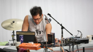 """Tei Blow reviewing and developing sound design for """"I Understand… MANCC Photo by Chris Cameron"""
