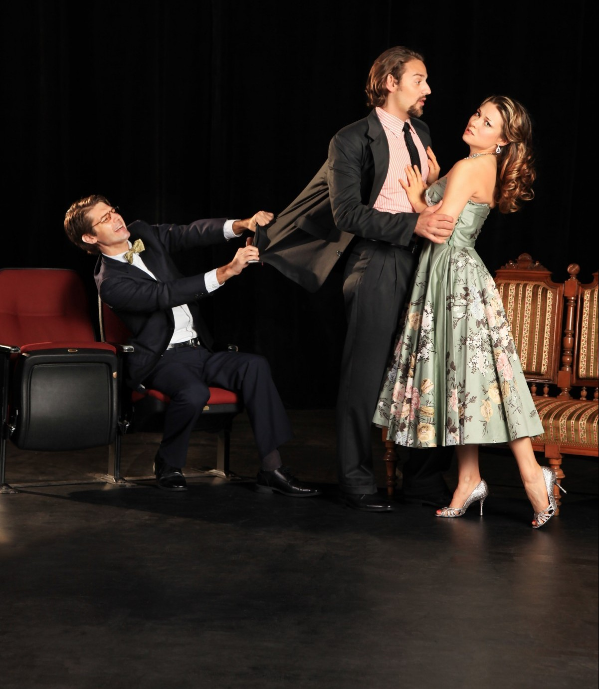 Photo by Frank Atura. Brett Mack, Brandon Madlonado and Jessie Taylor in The Real Inspector Hound.