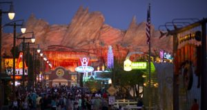"CARS LAND -- The new 12-acre Cars Land and its three new family attractions at Disney California Adventure park immerses guests in the thrilling world of the Disney•Pixar blockbuster ""Cars"" film franchise as they step into the town of Radiator Springs. (Matt Stroshane/Disneyland Resort)"