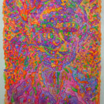 William Walmsley fluorescent lithograph: S-S-Self-Portrait / I Have Sinned against Art