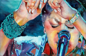 4.Rosemary Ferguson, Lady Sings the Blues, included in the tri-state juried competition organized by the Tallahassee Watercolor Society.