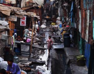 Dharavi slum in Mumbai, Maharashtra, India