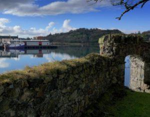 Lew Castle sea wall in Scotland