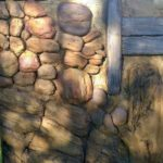 Kristina's sample board, studying rock work, fence texture and broken tree bark