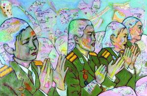 Stephanie Karamitsos, Cartographic Korea, acrylic painting / collage on hard board, 24 x 36 inches.