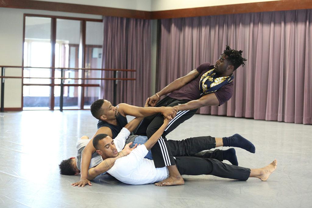 Photo: Shamar Watt (BFA '15) and fellow collaborators rehearse MANCC Artist Cynthia Oliver's Virago-Man Dem. Credit: MANCC photo by Chris Cameron