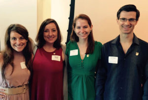 Fellowship winners: Bridget, Julie, and Gabe with fellow grad Heather Boni at the Fellows Society Annual Induction ceremony.