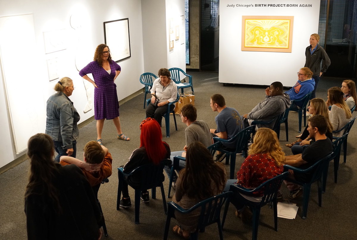 Students from Lighthouse of the Big Bend visit MoFA and learn more about the Judy Chicago's Birth Project: Born Again exhibit