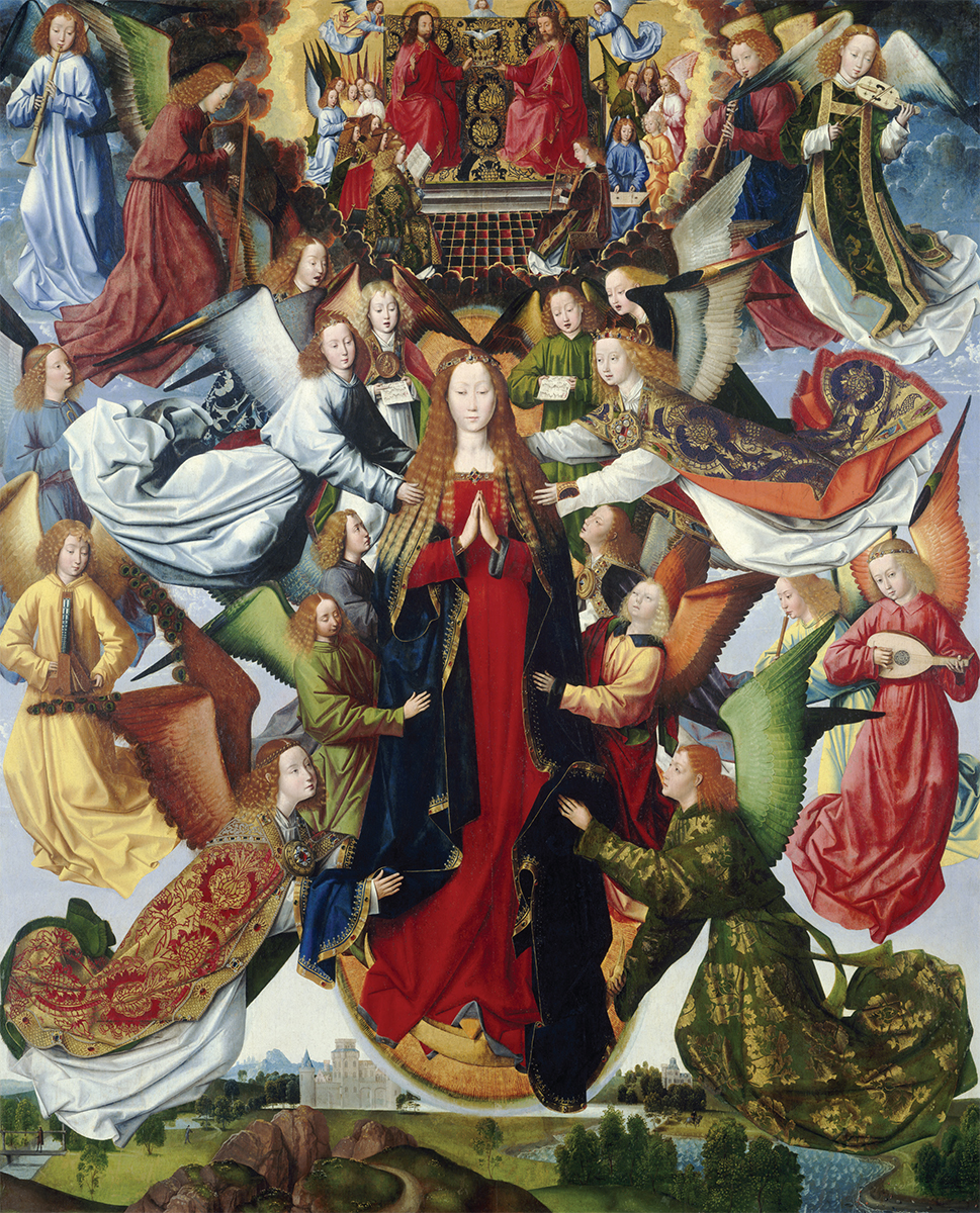 Master of the Saint Lucy Legend (Netherlandish, active ca. 1480–ca. 1510), Mary, Queen of Heaven, ca. 1485–1500. Oil on panel, 201.5 × 163.8 cm, On loan from the National Gallery of Art, Washington, D.C., Samuel H. Kress Collection.