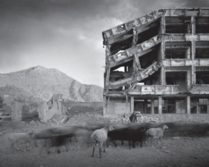 Gift of Jon and Nicky Ungar, 2013; Simon Norfolk, BulletScarred Apartment Building and Shops, Karte Char District, Kabul, Afghanistan, Archival pigment print, From the series Afghanistan: Chronotopia, Loan and image courtesy of the photographer and Gallery Luisotti, Santa Monica, CA