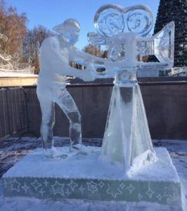 Ice sculpture in a nearby park in Tomsk, Russia