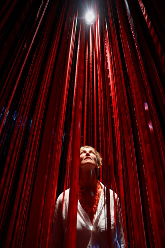 Artist Anne Patterson is immersed in her Pathless Woods installation. SCOTT KEELER | Tampa Bay Times