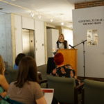 A spokesperson presents the ideas of her student breakout group