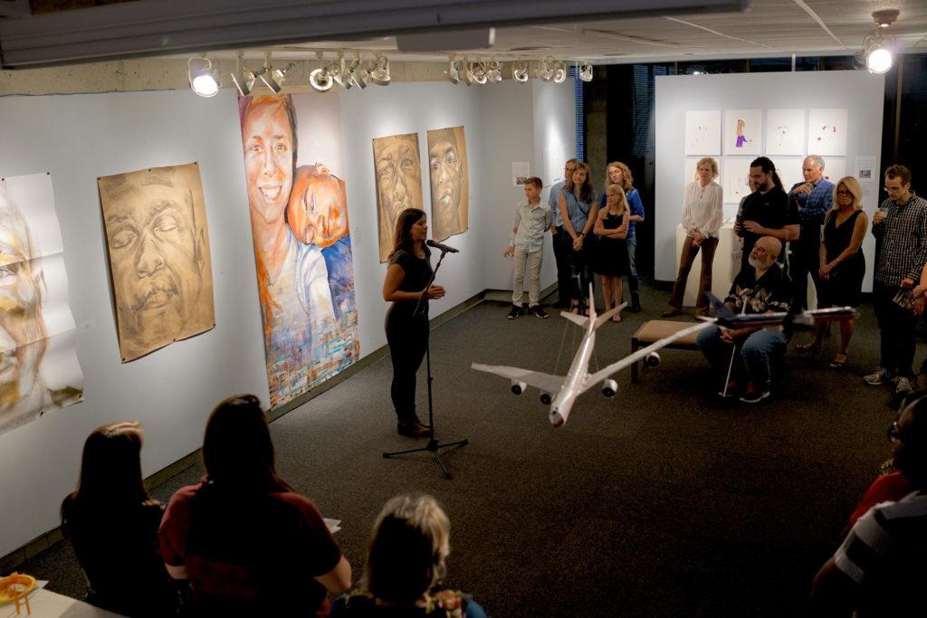 Mikaela Sheldt performs one of her spoken works.