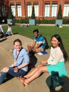 Students journaling at the Victoria and Albert Museum