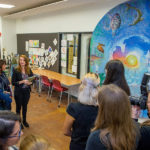 Second Lady Karen Pence (middle) tours the FSU art therapy with First Lady of Florida Ann Scott (left) at the launch of her new initiative, Art Therapy: Healing with the HeART on Wednesday, Oct. 18, at Florida State University. (FSU Photography Services)