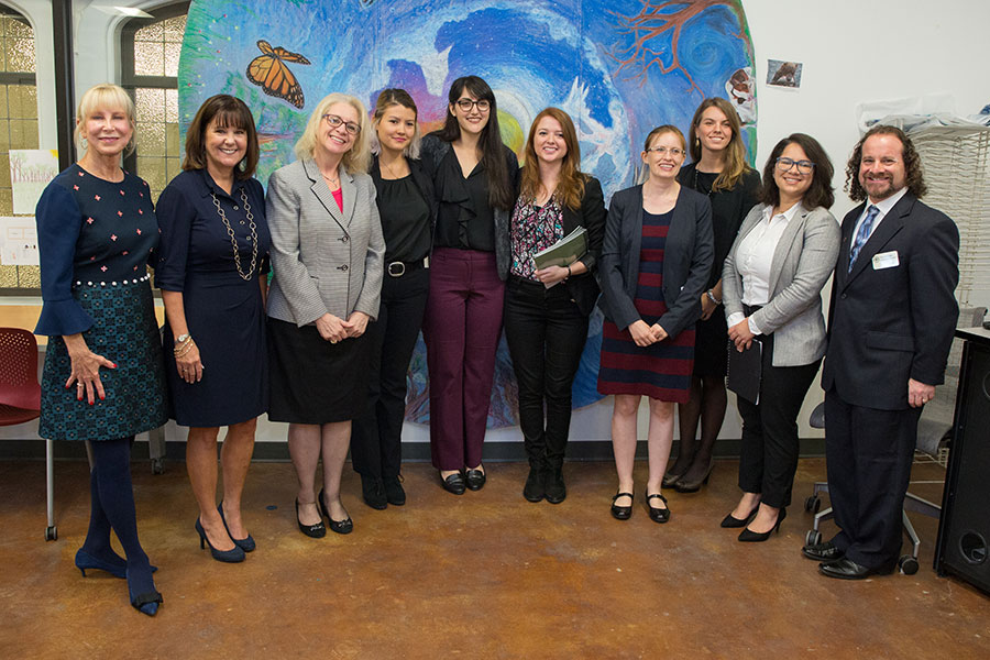 Second Lady Karen Pence (second from left) tours the FSU art therapy with First Lady of Florida Ann Scott (left) at the launch of her new initiative, Art Therapy: Healing with the HeART on Wednesday, Oct. 18, at Florida State University. (FSU Photography Services)