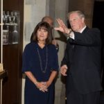 Second Lady Karen Pence with President John Thrasher at the announcement of her new initiative, Art Therapy: Healing with the HeART on Wednesday, Oct. 18, at Florida State University. (FSU Photography Services)