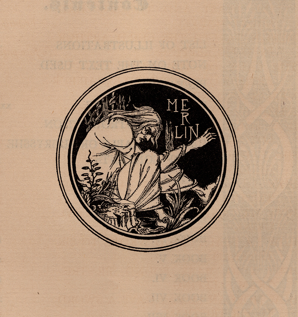 Aubrey Beardsley, Merlin, 1893-94, from an illustrated version of Thomas Malory's Arthurian cycle. Collection of Patrick M. Rowe.