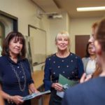 Second Lady Karen Pence (left) tours the FSU art therapy program with First Lady of Florida Ann Scott (middle) at the launch of her new initiative, Art Therapy: Healing with the HeART on Wednesday, Oct. 18, at Florida State University. (Florida Governor's Office)