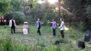 Malaev Babel, second from right, and members of the Moscow Demidov School Laboratory during outdoors rehearsal of THE CHERRY ORCHARD. Photo provided by Andrei Malaev-Babel