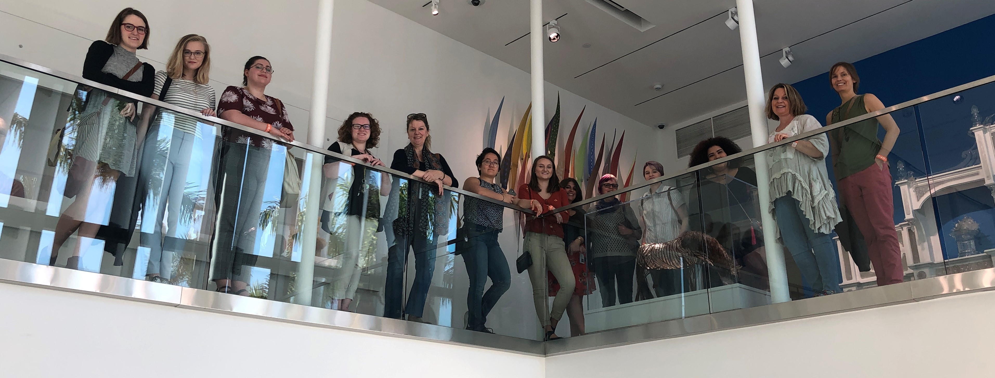 Art Museum Education and Visitor-Centered Exhibitions group photo in the Kotler-Coville Glass Pavillion, The Ringling