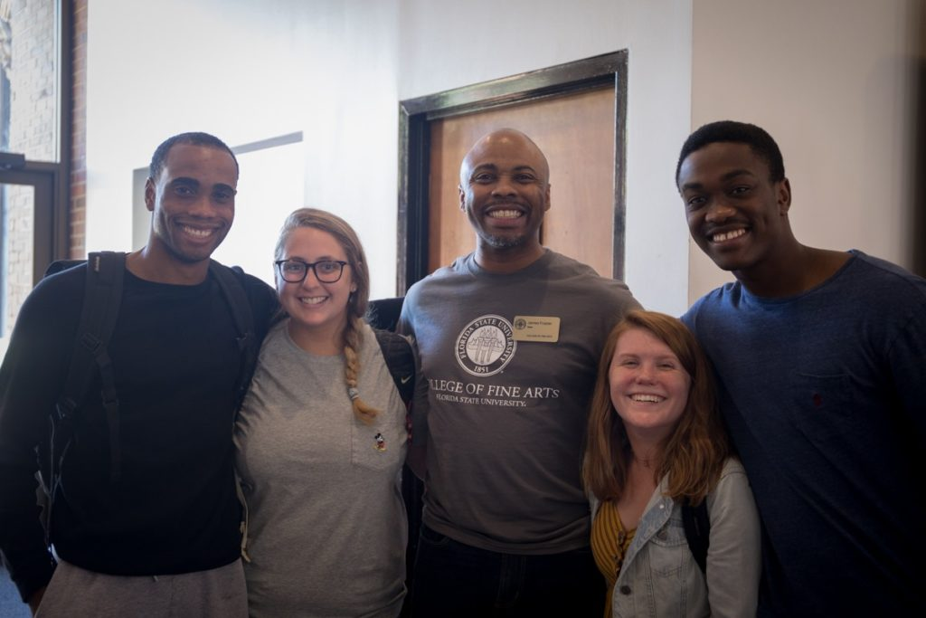 Dean Frazier with students